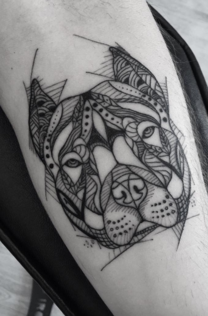 744aeb2599aa Black And Gray Pitbull Tattoo