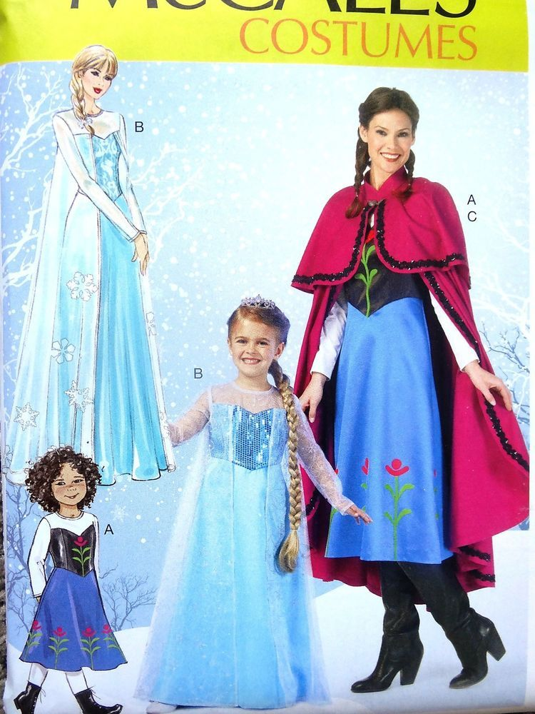 Disney Frozen Elsa Anna Dress Cape Costume Mccalls Sewing Pattern ...