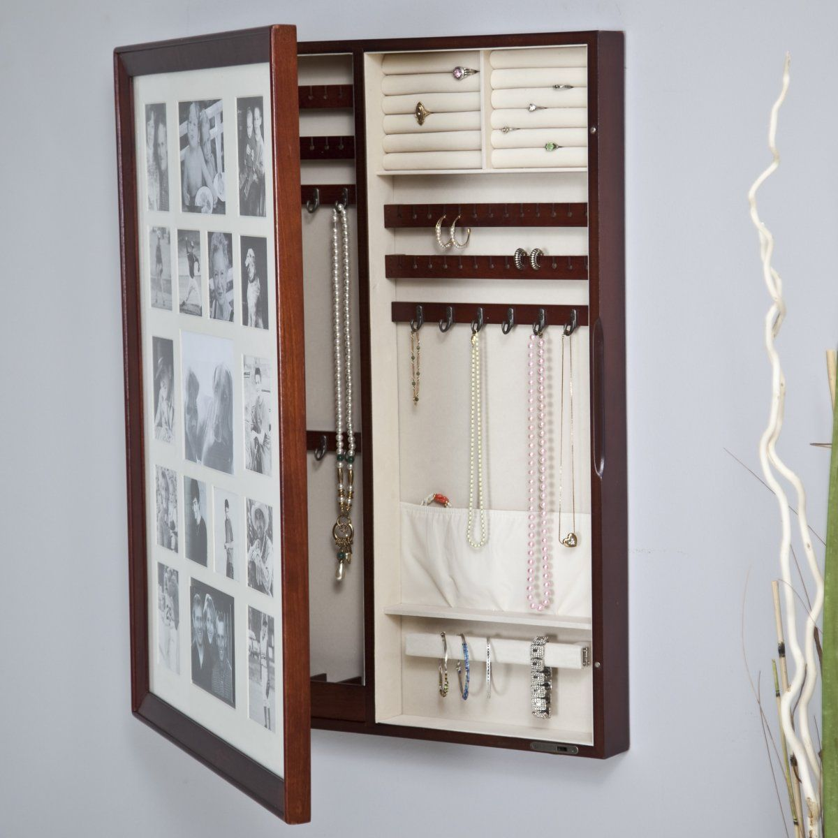 Collage Photo Frame Wooden Wall Locking Jewelry Armoire 23W x 30H