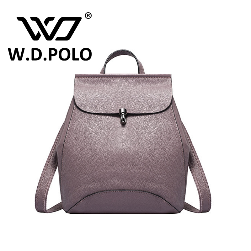 53.97$  Buy now - http://aliv4o.worldwells.pw/go.php?t=32749101609 - W.D POLO New Solid color clemence genuine leather women backpack girls high chic brand design 3 functional hand bag hot M2215