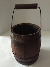 ANTIQUE 1800s WOOD BARREL KEG BUCKET PAIL HAND FORGED IRON WORK EXCLNT CONDITION
