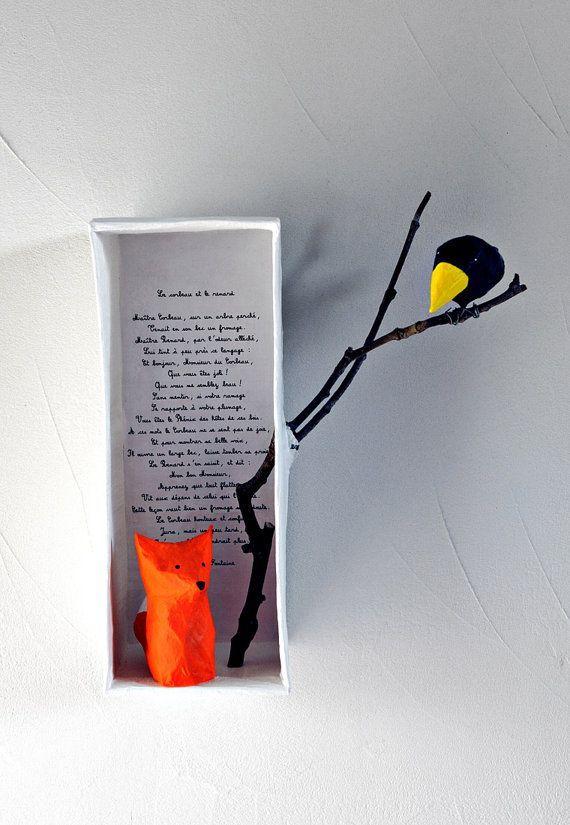 Les Fables de la Fontaine en diorama. Le corbeau et le renard illustré en 3D. #dioramaideas