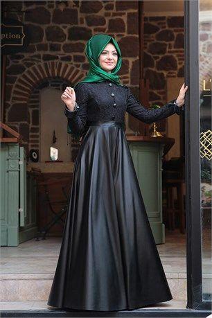 e9d8c078ec31d Pınar Şems - Deri Elbise - PS-5960 - Siyah | nisan düğün, 2018 ...