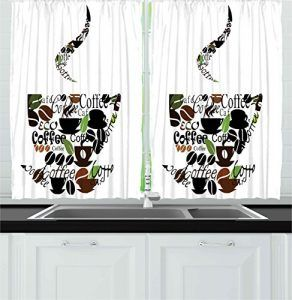 Modern Arty Coffee Cup Themed Kitchen Curtains Coffee Theme Kitchen Kitchen Themes Coffee Kitchen