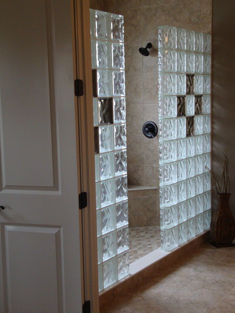 Glass Block Shower Wall Bathrooms In 2019 Glass Block