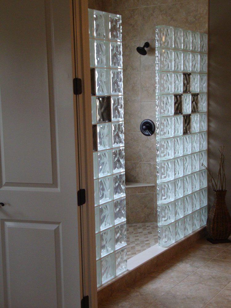 Glass Block Shower Wall Shower Remodel Glass Block Shower