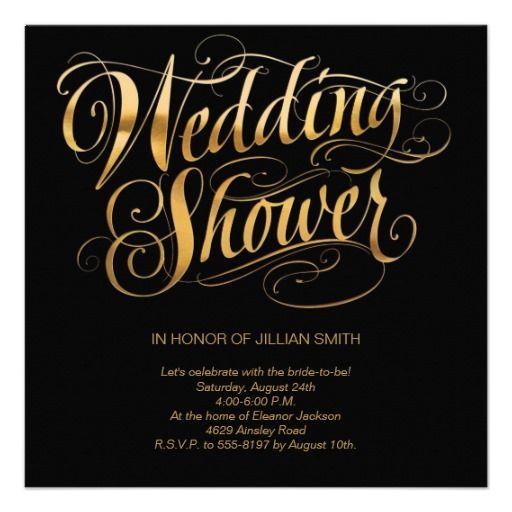 Elegant Gold Lettering Hallmark Wedding Invitations Lettering Invitation Bridal Shower Invitations