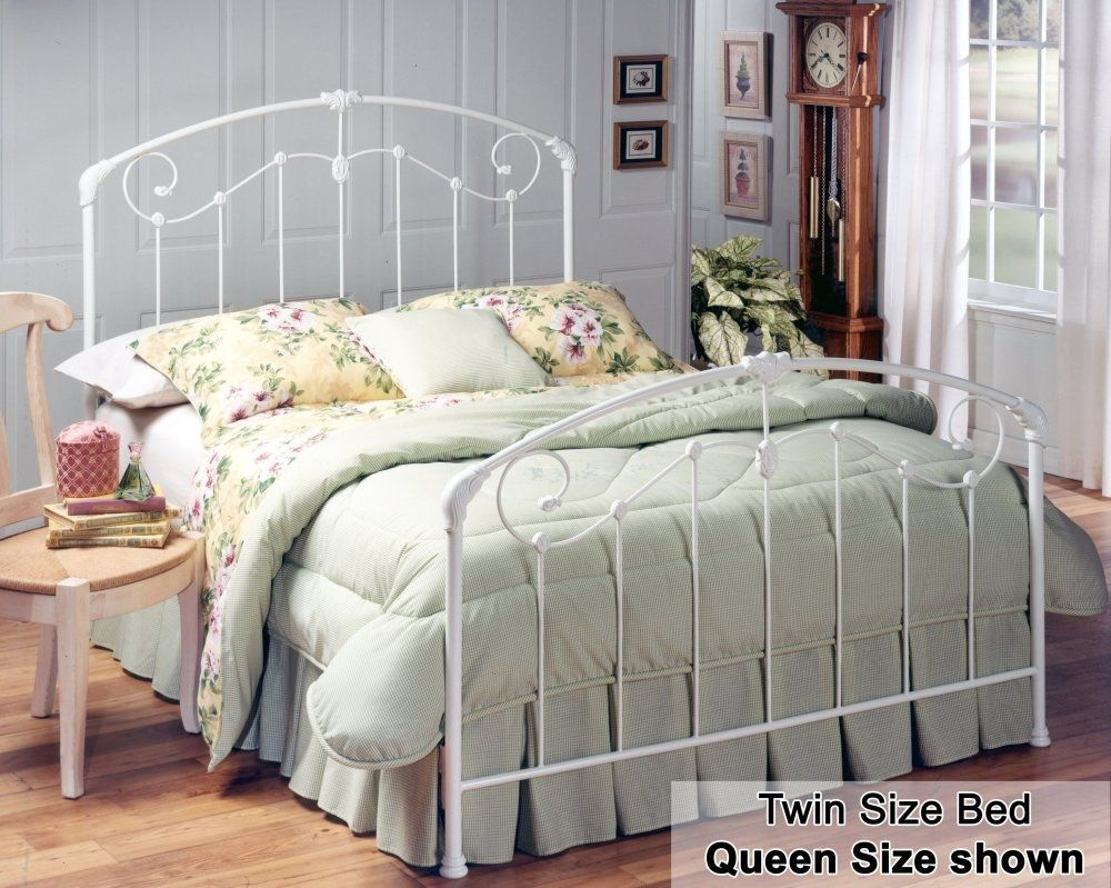 White Rod Iron Bed Frame White metal bed, White iron