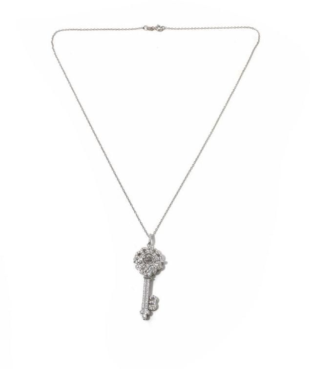 """Victoria Wieck 1.4ctw Absolute Sterling Silver """"Key"""" Pendant with 18"""" Chain"""
