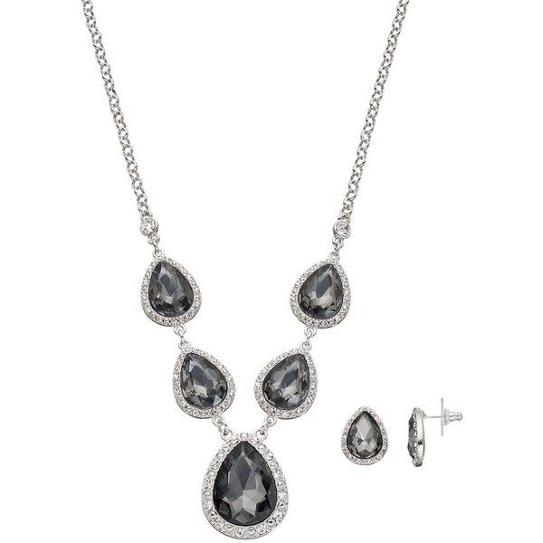 Black Faceted Teardrop Necklace & Earring Set ($17) ❤ liked on Polyvore featuring jewelry, earrings, black, fake earrings, nickel free jewelry, tear drop jewelry, artificial earrings and clasp earrings