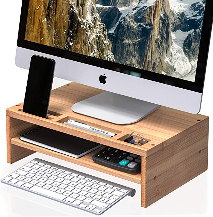 Amazon Com Well Weng Desk Monitor Riser Stand With Storage