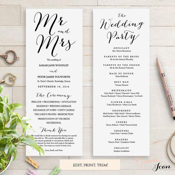 Wedding Programs Instant Download Template Sweet Bomb Edit Print - Editable wedding program templates