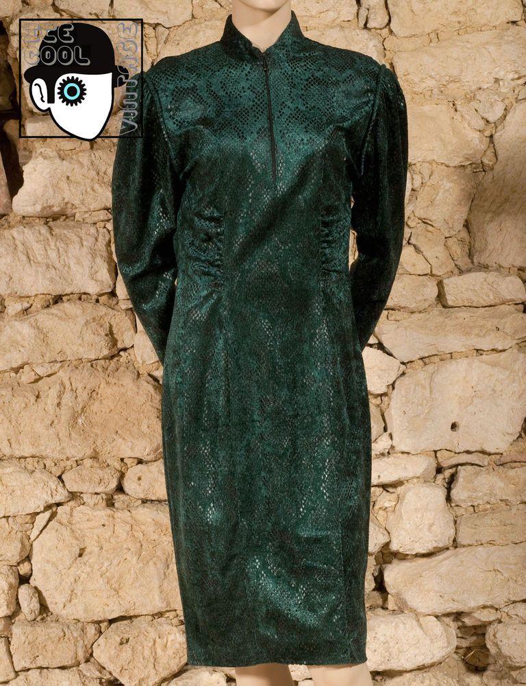09db93c69fd VINTAGE 80s  BABU - PARIS  SNAKESKIN EFFECT EVENING DRESS - UK 12 - NEW -  (Z)