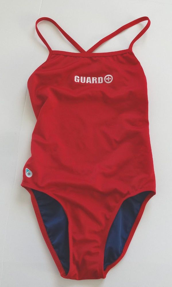 4dbf240c80ded7 Original Watermen X-Back Swimsuit Lifeguard Suit Size 32 6 Embroidered Red  #OriginalWatermen #OnePiece