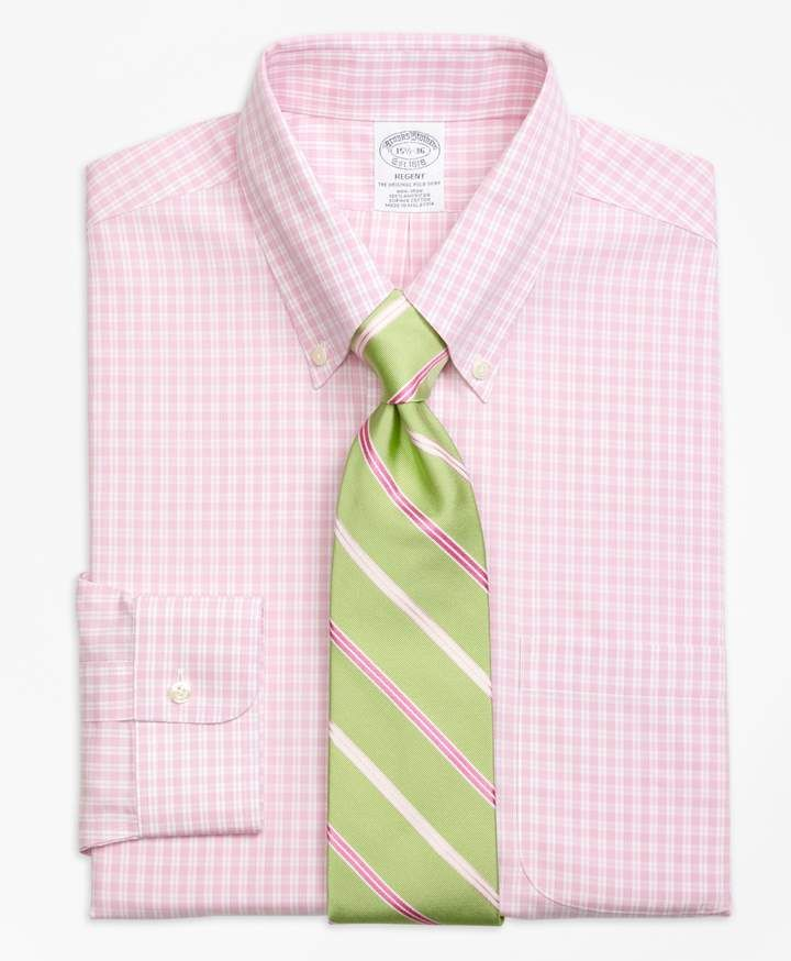 11d3b79ba54 Brooks Brothers Regent Fitted Dress Shirt, Non-Iron Twin Gingham in ...