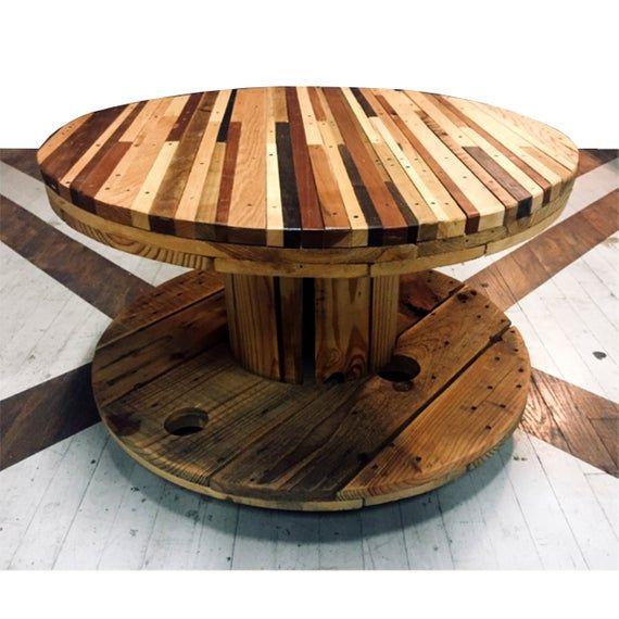 Salvaged Striped Hardwood Rolling Spool Coffee Table