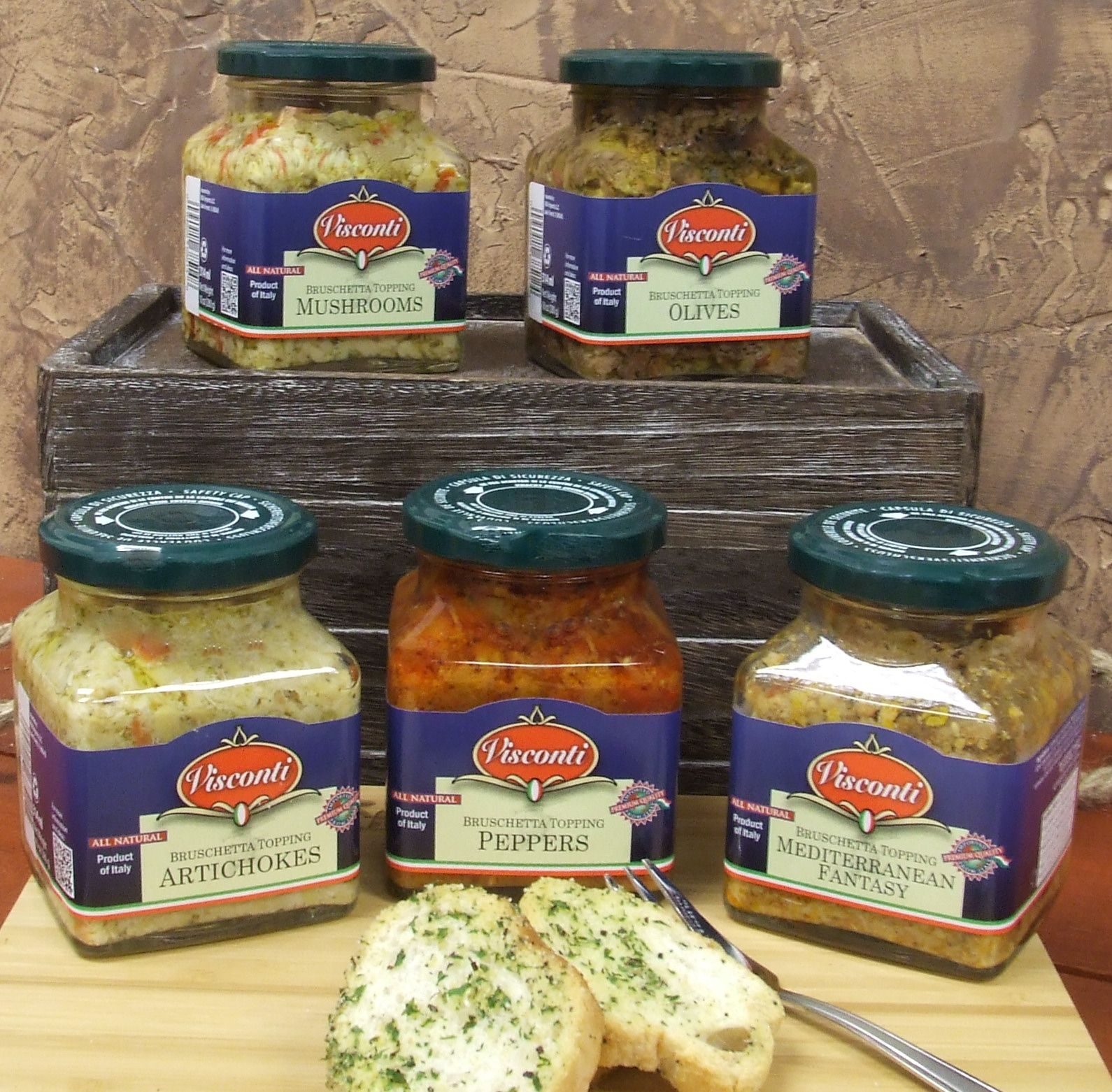 Imported  Bruschetta Toppings from Italy in 5 flavors!