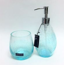 New 2 Pc Set Coastal Collection Clear Cracked Glass Blue Soap Lotion