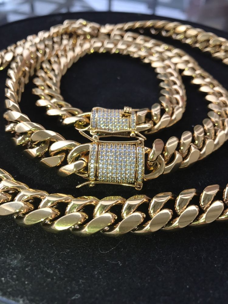 4e654d19a1249 Men's 14k & 18k Gold Cuban Link Chain & Bracelet Set 1ct Lab ...