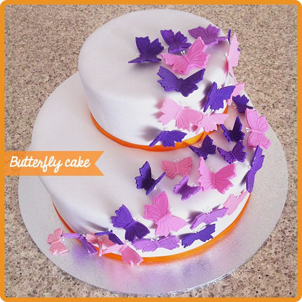Cake Decoration Butterfly : 2 tiered butterfly cake by pixelsnpieces.com cake ...