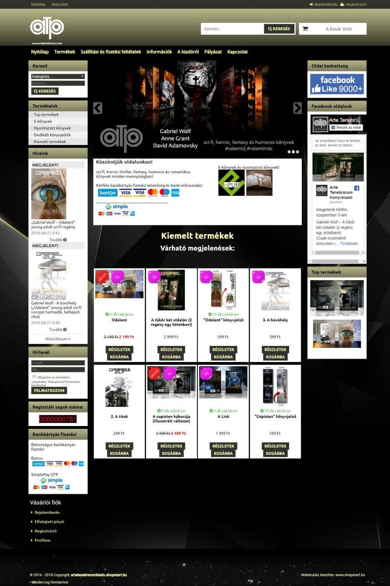 5ca293782e Artetenebrarum könyvkiadó webáruháza | E-könyvek, nyomtatott könyvek,  dedikált könyvek, folyamatos akciók