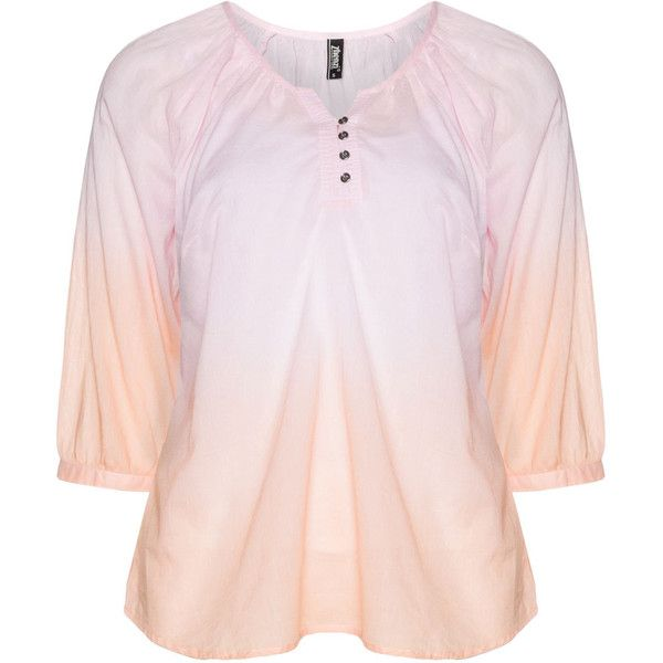 Zhenzi Pink / Apricot Plus Size Pull on cotton blouse ($43) ❤ liked on Polyvore featuring tops, blouses, pink, plus size, plus size 3/4 sleeve tops, 3/4 sleeve blouse, pink top, plus size blouses and plus size cotton tops