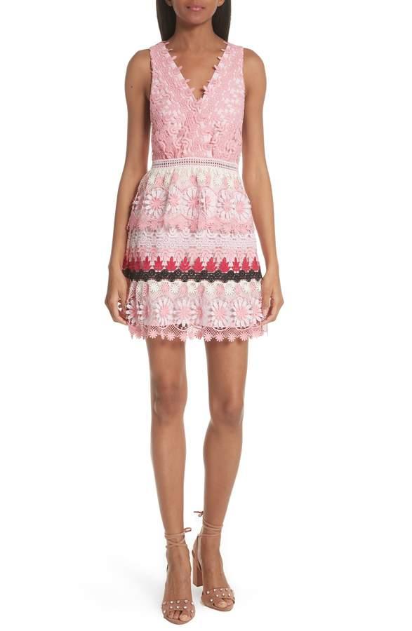 0e931cb1bd13 Self-Portrait Stripe Guipure Lace Minidress | Products | Fashion ...