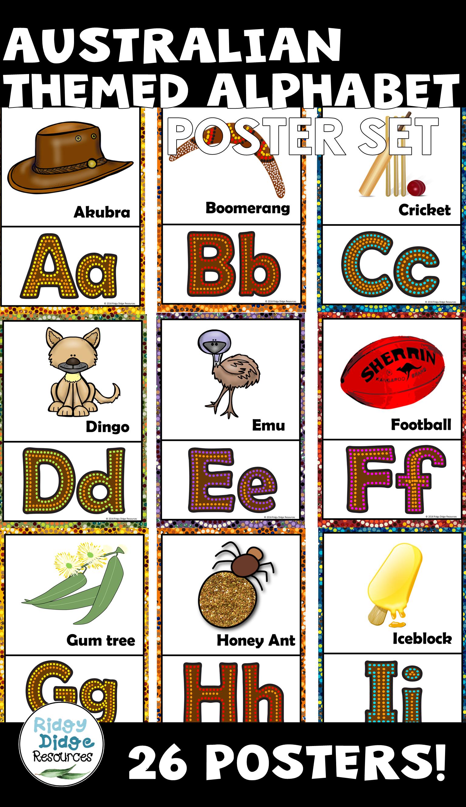 Australian Themed Alphabet Posters Alphabet Poster Alphabet Display Aboriginal Education