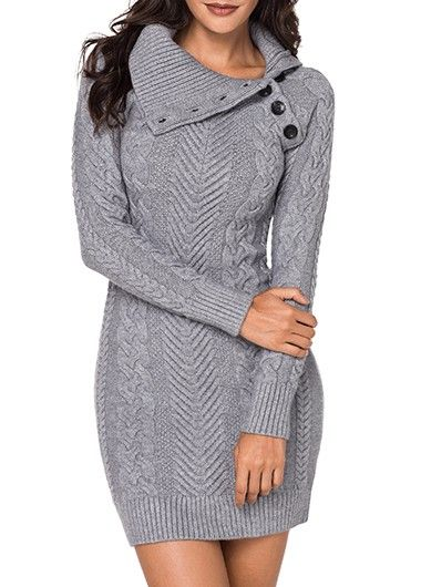 c1d020fbbb9 Asymmetric Hem Light Grey Cowl Neck Sweater Dress