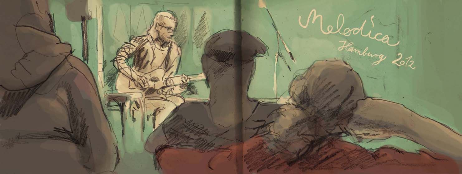 More really cool live sketches of the Melodica music festival I played in in Hamburg. This girl is seriously talented. Really captured the mood of each player.     marie malmalwas: Melodica Sunday Afternoon