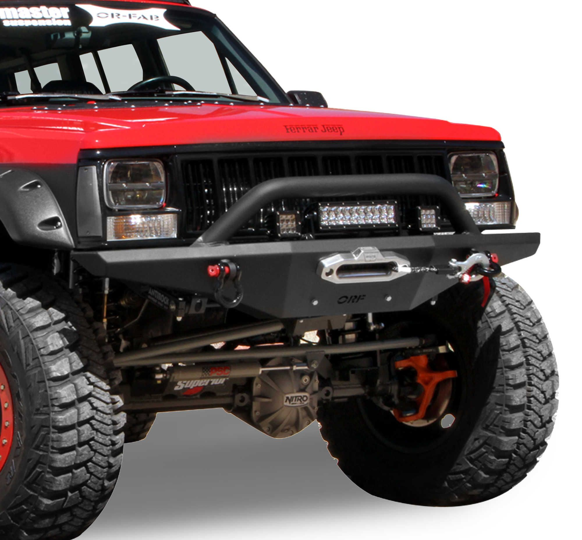 Or Fab Front Hd Bumper With Grille Guard For 84 01 Jeep Cherokee