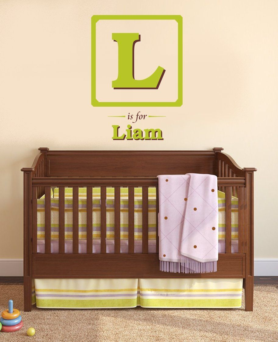 Baby Block Monogram Vinyl Wall Decal Large Initial Baby Block - Monogram vinyl wall decals for boys