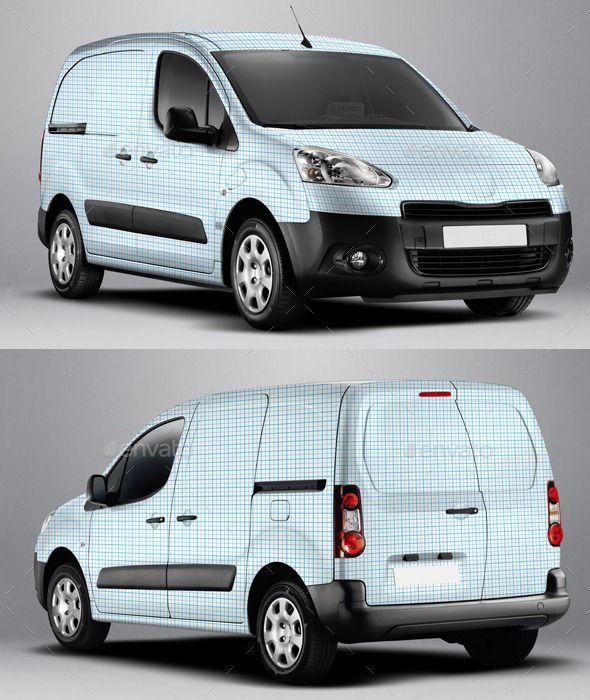 2014 Peugeot Partner Electric Van Wrap Mockup