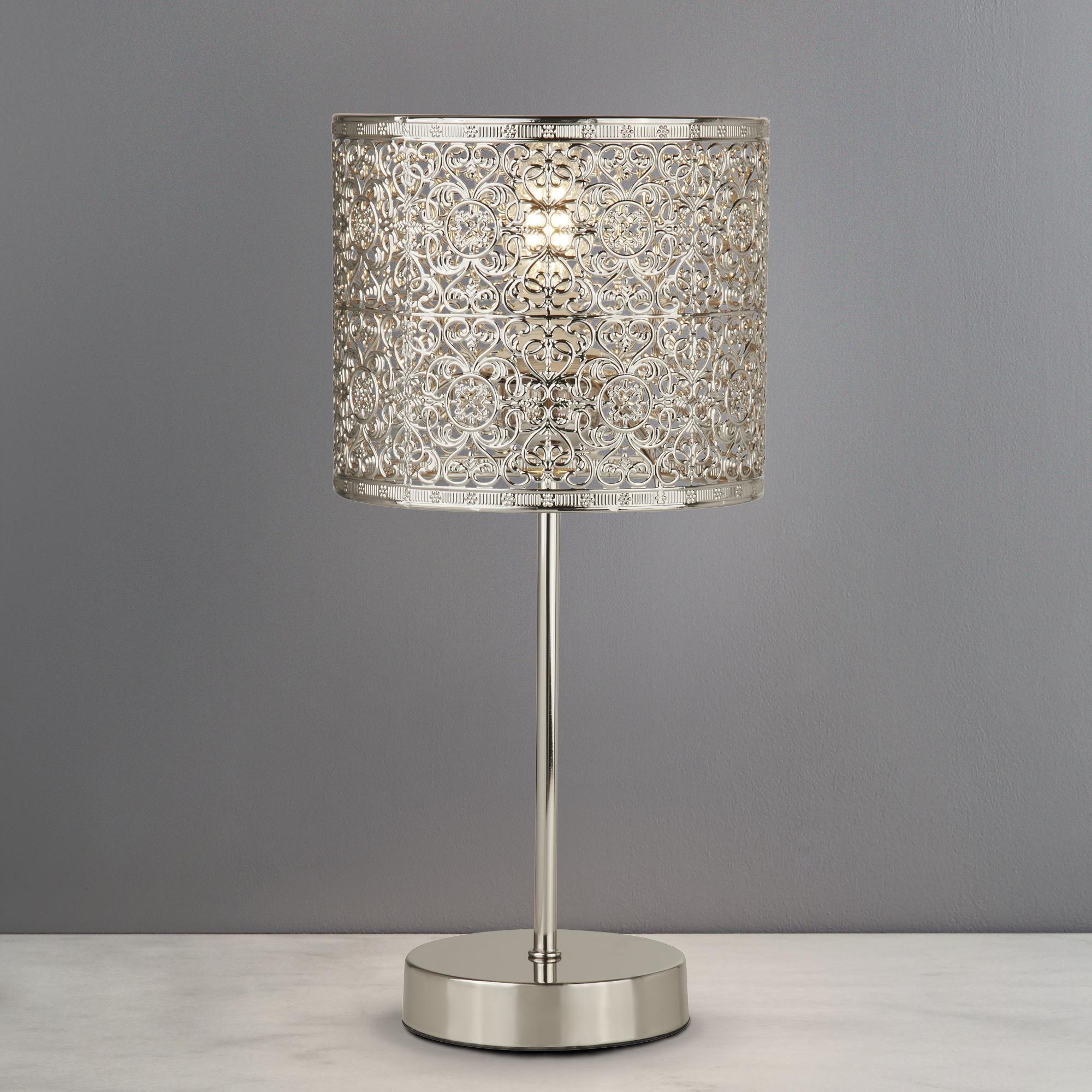 Dunelm Vintage Silver Tunis Fretwork Table Lamp Silver Table Lamps Table Lamp Bedside Table Lamps