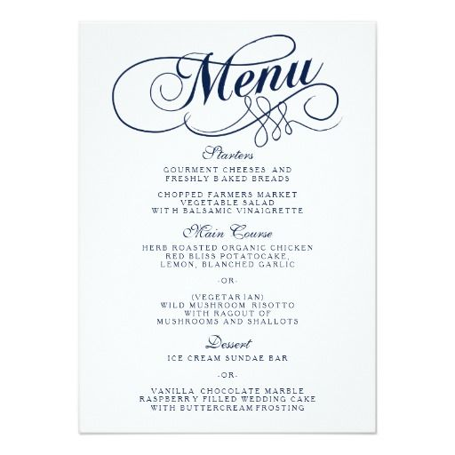 Elegant Navy Blue And White Wedding Menu Templates  Blue Wedding