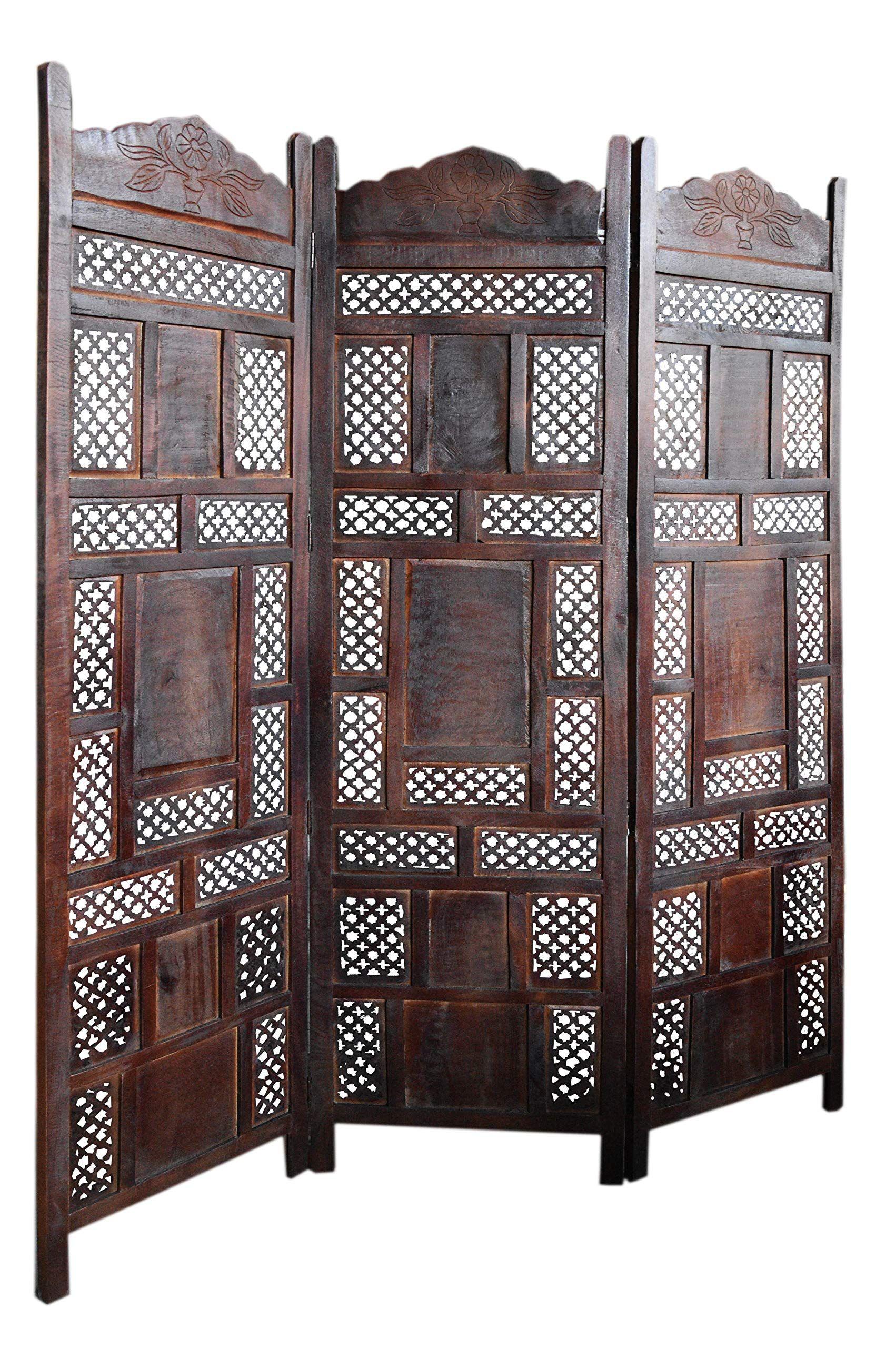 Orientalischer Paravent Raumteiler Aus Holz Ishara 150 X 181cm Hoch In Braun Indischer Trennwand Als Raumtrenner Oder Dekoratio In 2020 Decor Room Divider Home Decor