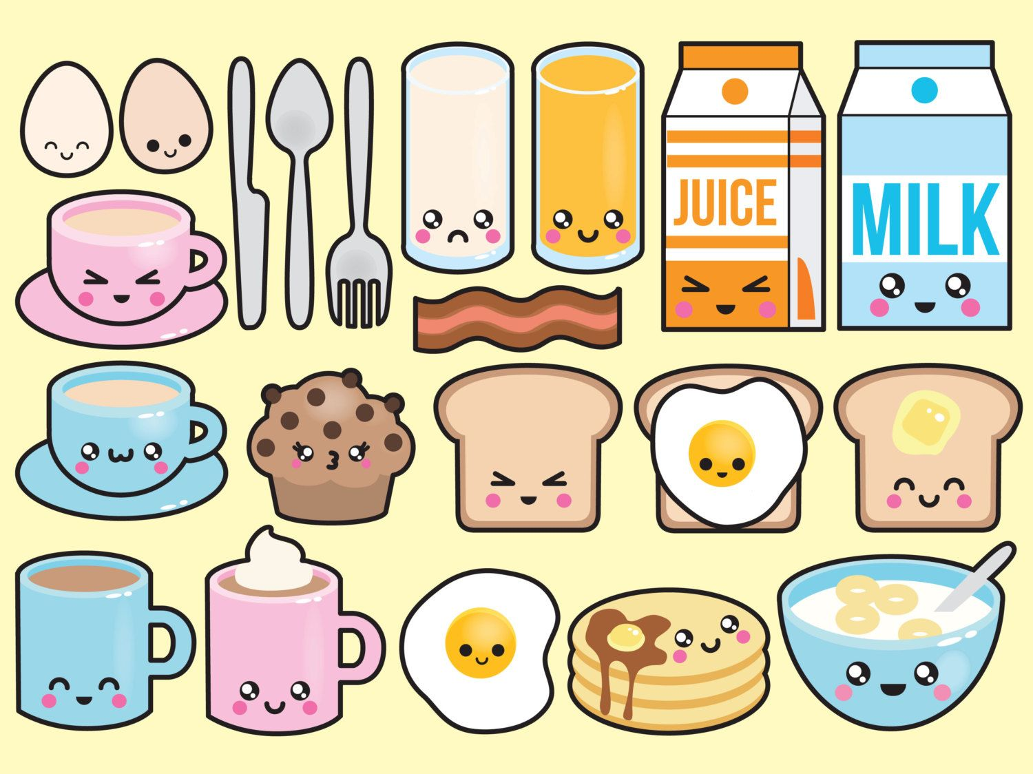 Premium Vector Clipart Kawaii Breakfast Clipart Kawaii