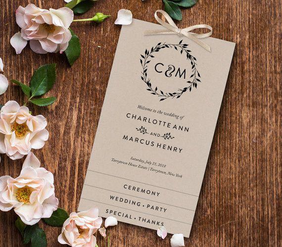 tiered wedding program instant download custom order of service