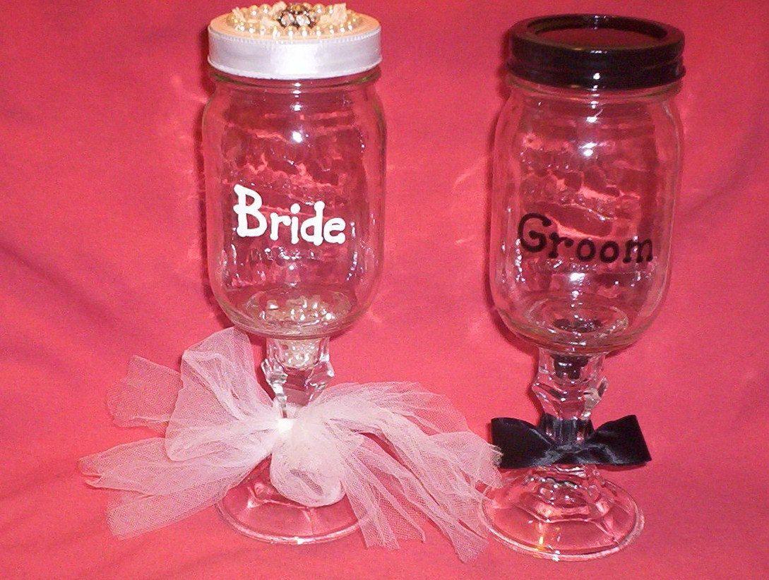 bride and groom redneck wine glasses! | Party Ideas | Pinterest ...