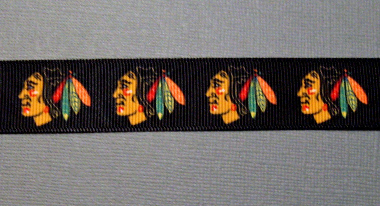 CHICAGO BLACKHAWKS  7/8 Logo on Black by GameTimeScrapbooks, $6.25