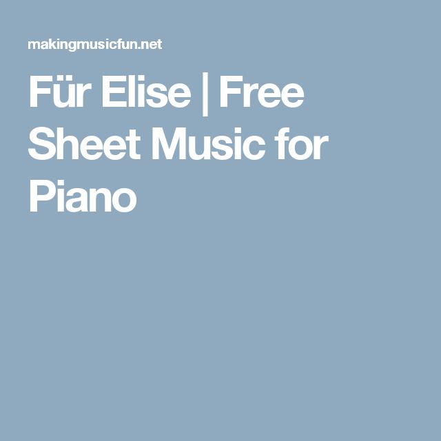 Für Elise | Free Sheet Music for Piano | Παρτιτουρεσ | Pinterest