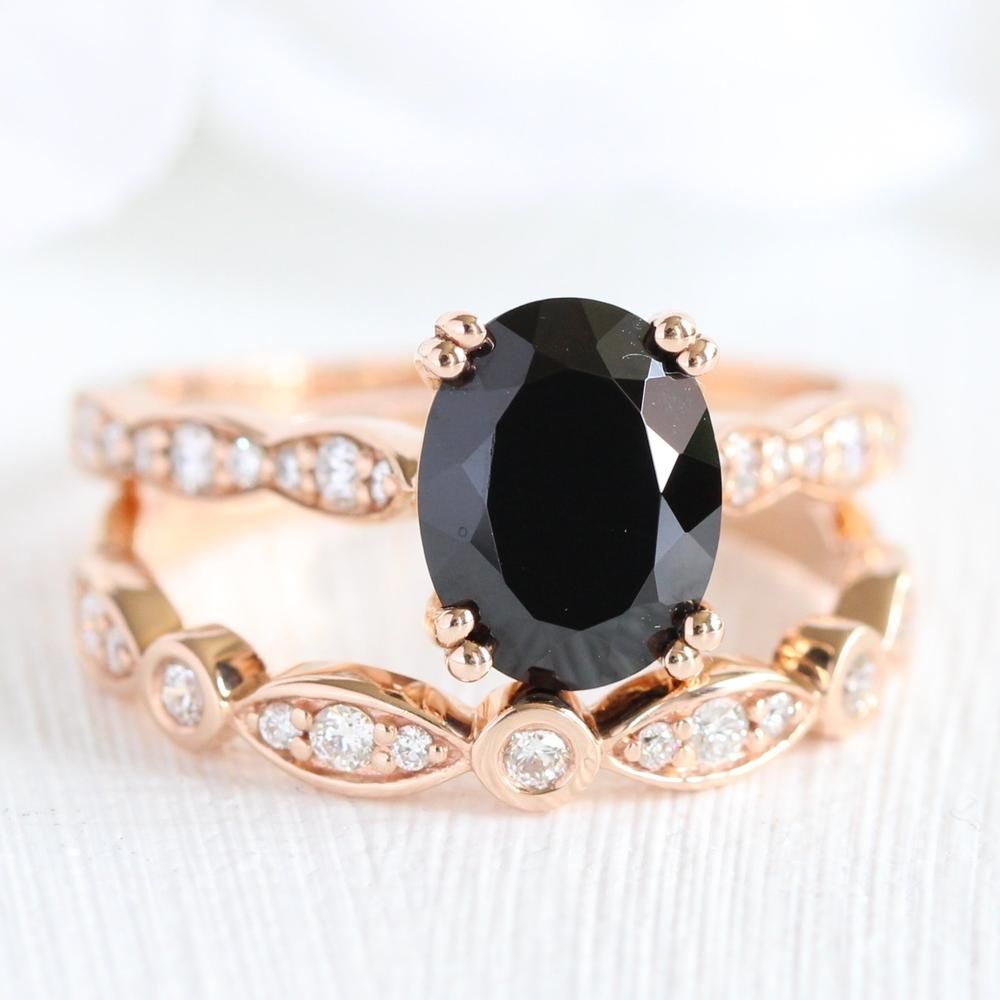 Grace Solitaire Bridal Set In Bezel Scalloped Band W Black Spinel And Diamond Bridal Ring Sets Diamond Wedding Sets Spinel Engagement Rings