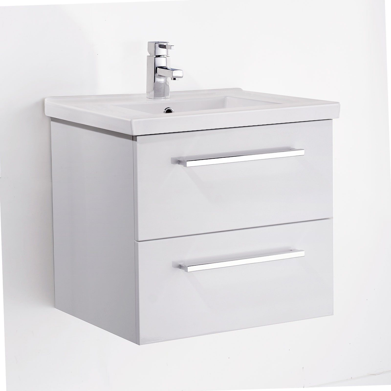 Napoleon Wall Hung White Gloss Basin Vanity Unit 600mm With Images Basin Vanity Unit Bathroom Wall Hanging Vanity Units