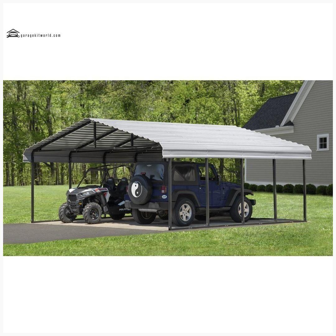 Arrow Eggshell 20 x 24 Steel 2 Car Carport Kit Carport kits