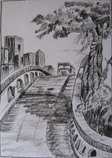 Charcoal Sketch Another Landscape By Latha S Sketches Via Flickr Landscape Sketch Charcoal Art Landscape Drawings