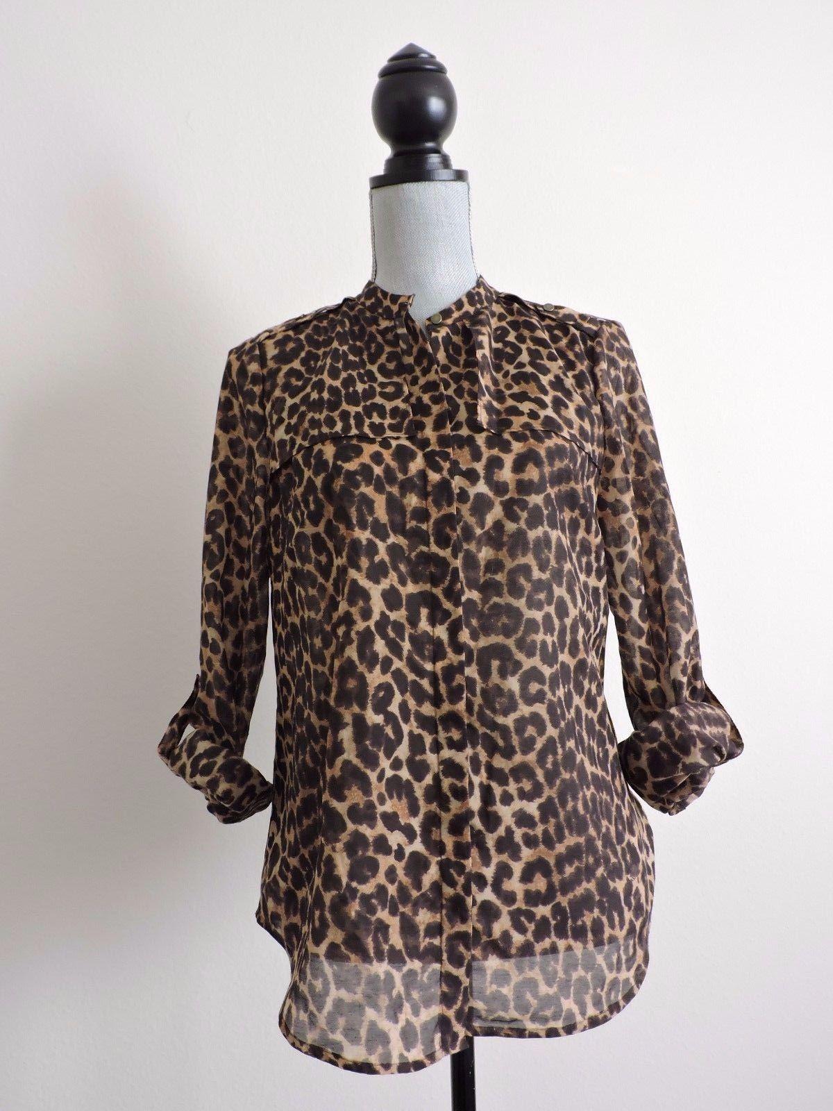 Ann Taylor Button Down Animal Print Shirt Blouse Career 8 Fall Brown Black Sheer