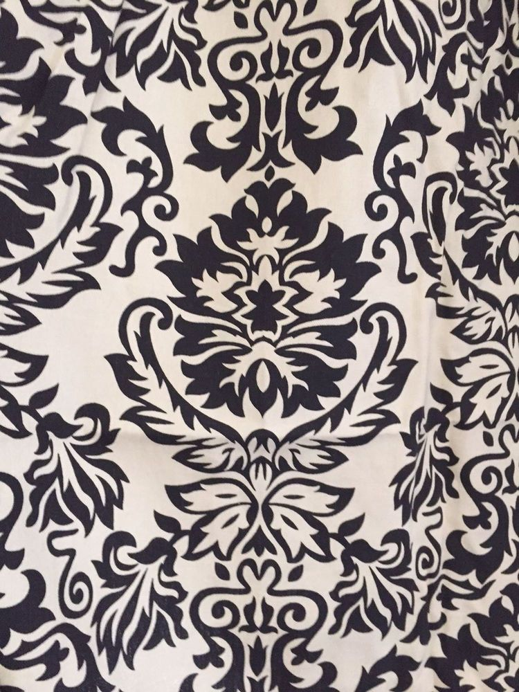 Set Of Pier 1 One Black White Damask Curtains Panels 52 In X 84 In #