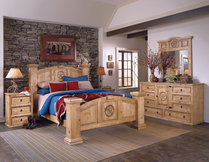 Texas Style 6pc Bedroom Set Made With 100 Solid Ponderosa