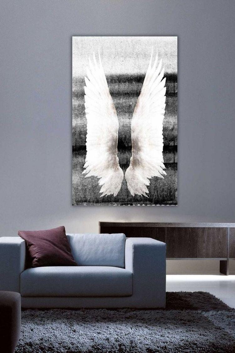 Wandgestaltung Wohnzimmer Grau Modern Schwarz Weisses Poster