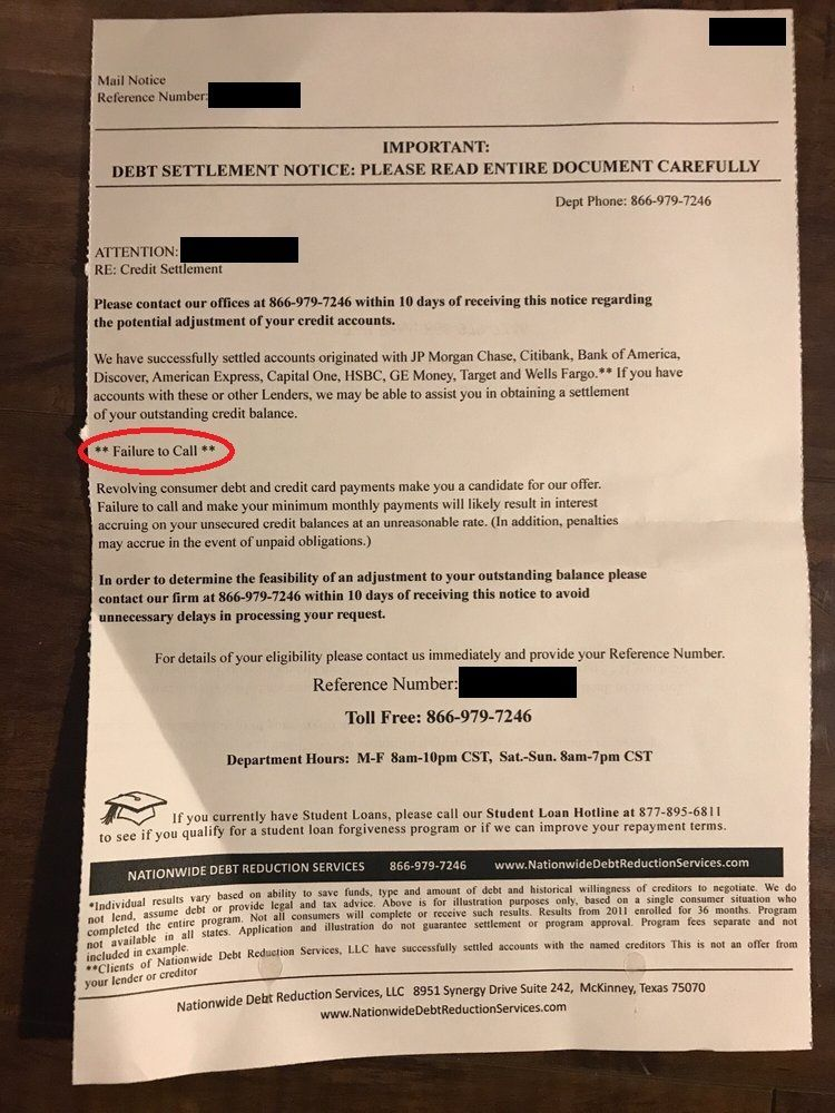 Letter mailed from Nationwide Debt Reduction Services